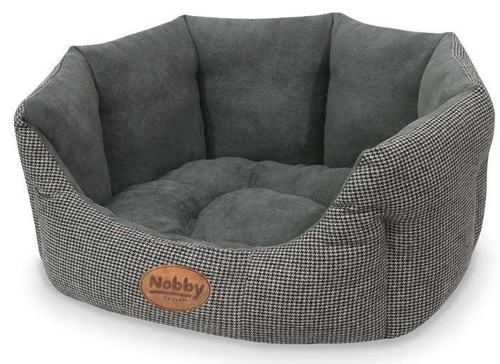 Nobby JOSI károvaný pelíšek šedý 45x40x19cm