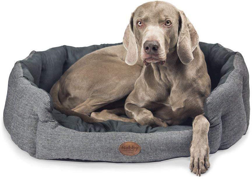 Nobby JOSI károvaný pelíšek pro psy šedá 86x70x24cm