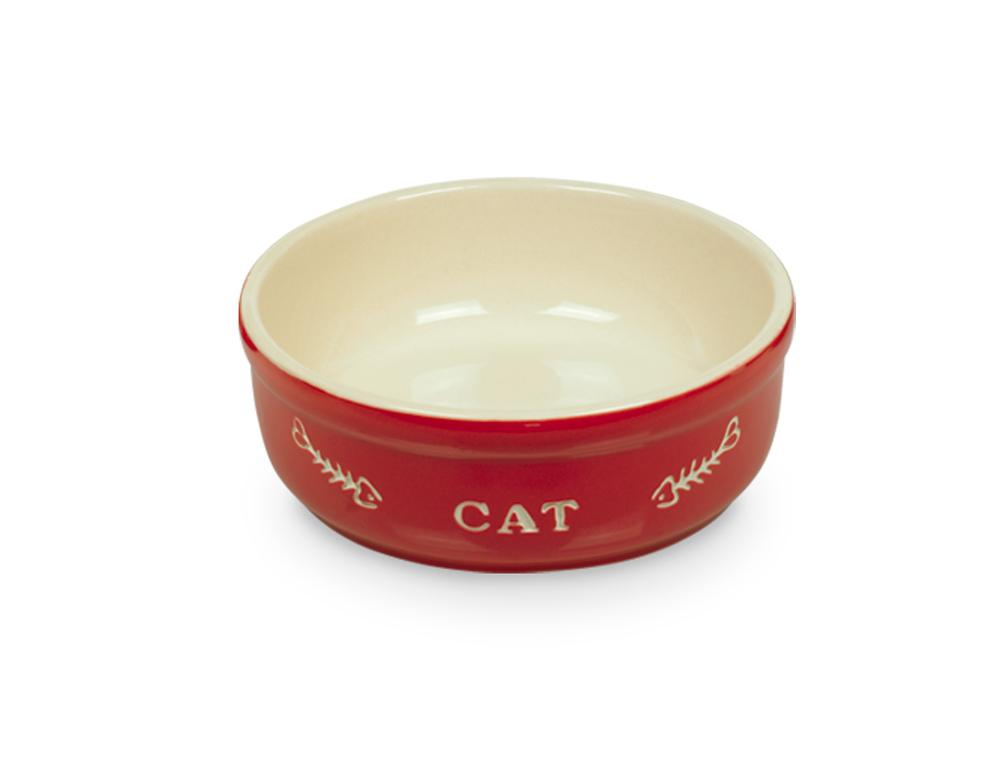 Nobby Cat keramická miska 13,5 cm červená