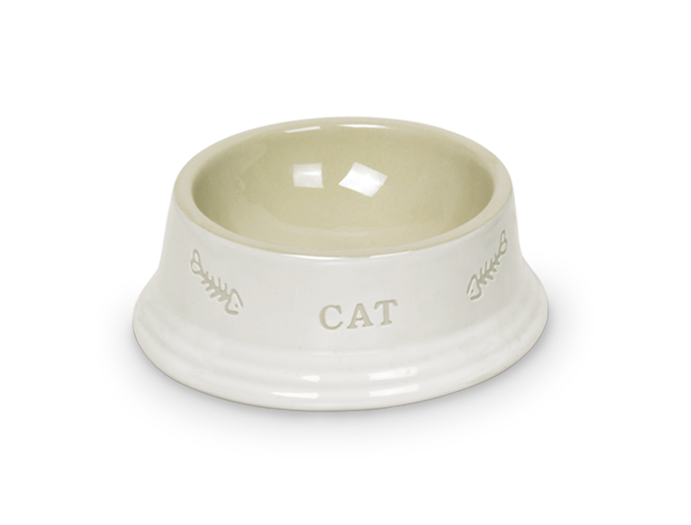 Nobby Cat keramická miska 14 x 4,8 cm bílá