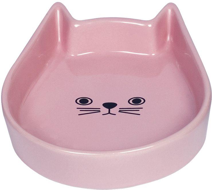 Nobby Kitty Face keramická miska pro kočku růžová 13x16x3cm