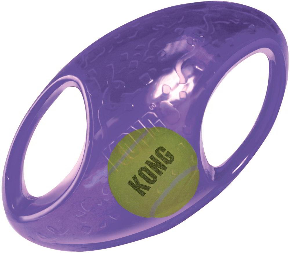 Kong Jumbler hračka pro psy gumový míč rugby M/L 17,5 x 11 cm