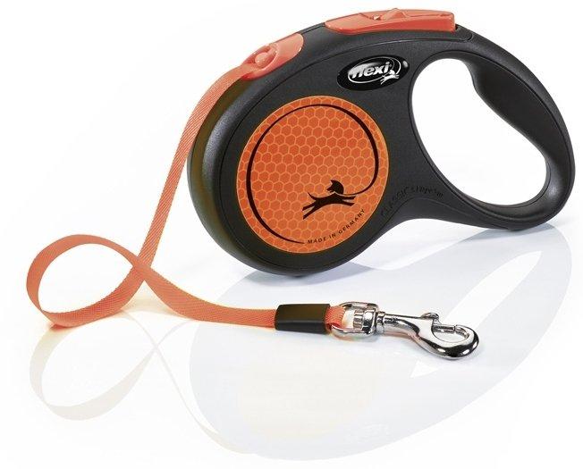 Flexi NEW NEON páskové vodítko S oranžové 5m do 15kg