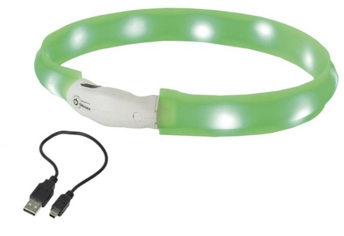 Nobby LED plochý svítící obojek pro psy zelený L 70cm