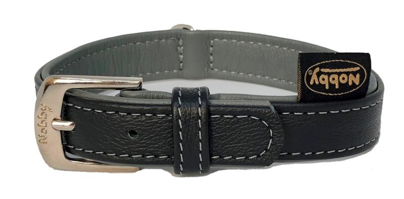 Nobby Pacific kožený obojek šedé lemování XS 27cm
