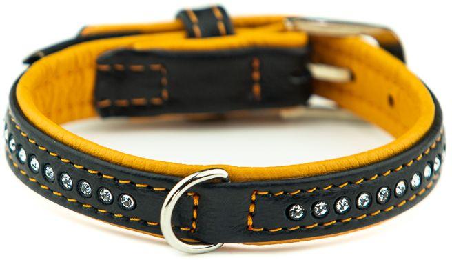 Nobby Pacific Deluxe obojek se Swarovski krystaly XS-S 32cm oranžová