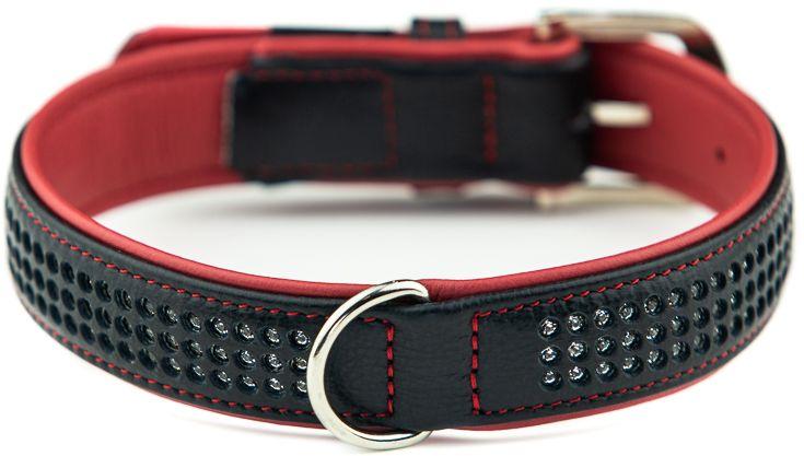 Nobby Pacific Deluxe obojek se Swarovski krystaly M-L 52cm červená
