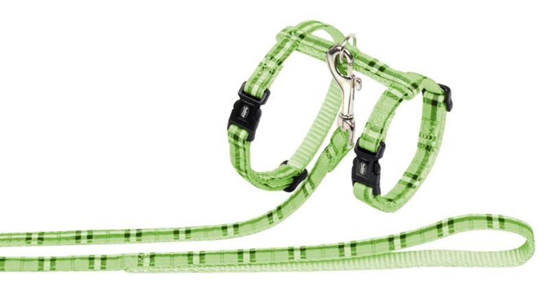 Nobby Tartan zelený set postroj + obojek pro kočku