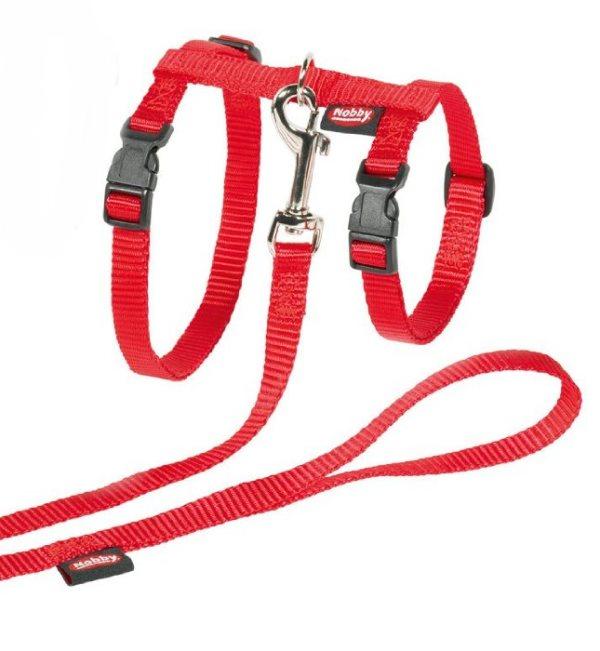 Nobby XL set červený postroj + vodítko pro velkou kočku