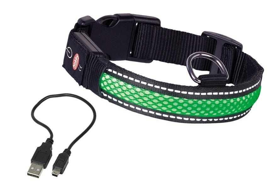 Nobby Flash Mesh svítící zelený obojek vel. L (45-63cm)