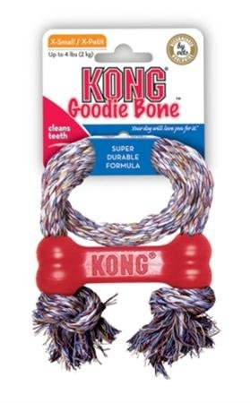 Kong Goodie Bone XS gumová kost s lanem 8cm