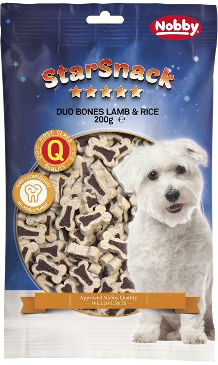 Nobby StarSnack Duo Bones pamlsky pro psa jehně+rýže 200g