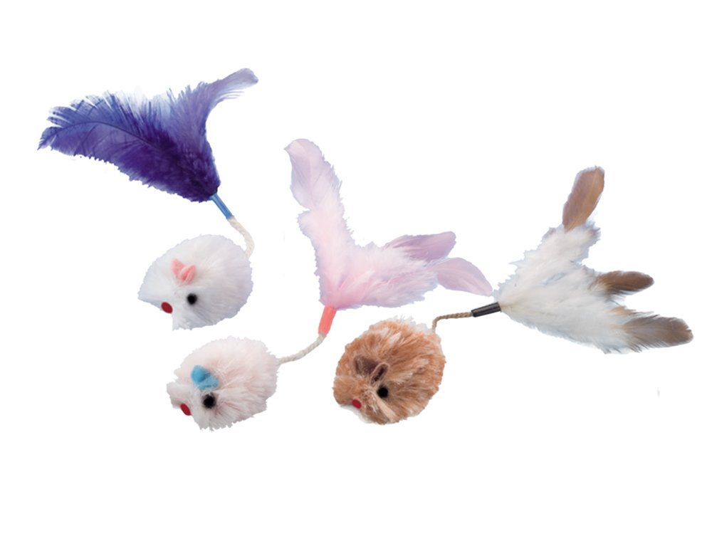 Nobby hračka plyšové mini myšky s peřím 3cm