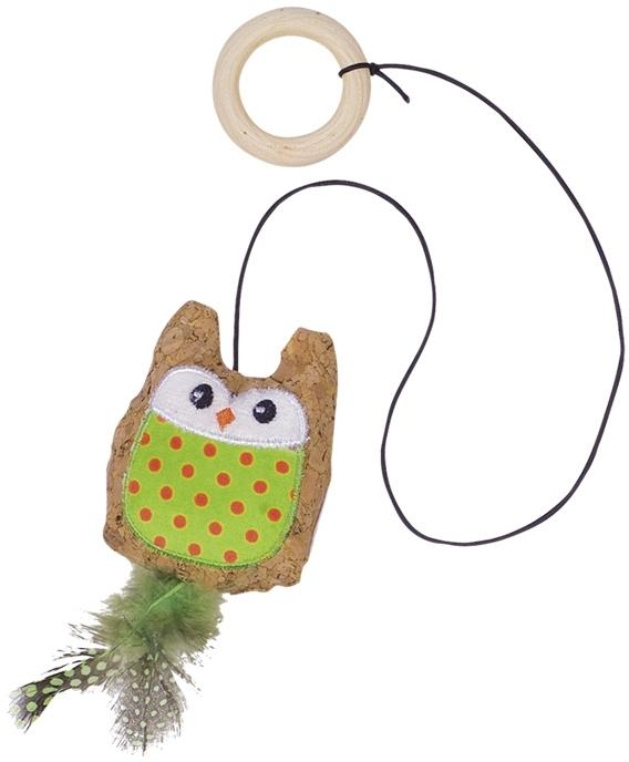 Nobby hračka pro kočky sova s catnipem na gumové šňůrce 7,5/55 cm