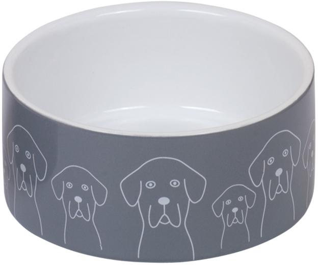 Nobby keramická miska DOGS šedo-bílá 15,0 x 6,0 cm / 0,55 l