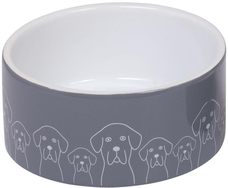 Nobby keramická miska DOGS šedo-bílá 18,0 x 7,0 cm / 1,10 l