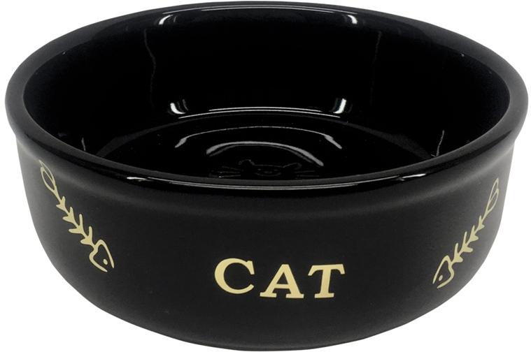 Nobby GOLDEN CAT keramická miska pro kočky černá se zlatým vzorem 13,5x4,5cm/0,25l
