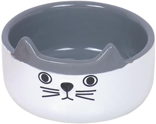 Nobby CAT FACE keramická miska pro kočky bílo-šedá 13x4,5cm/0,16l