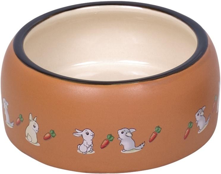 Nobby RABBIT keramická miska pro hlodavce hnědo-bílá 14,5 x 5,5 cm