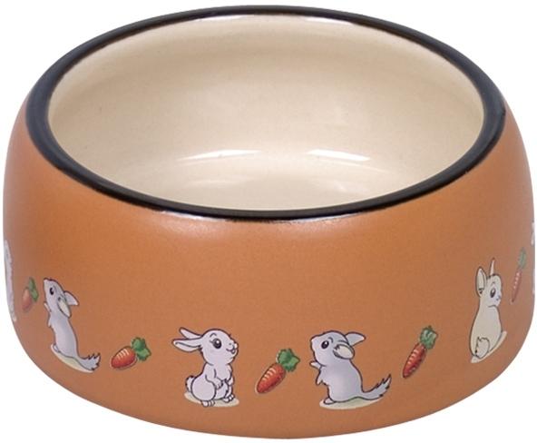 Nobby RABBIT keramická miska pro hlodavce hnědo-bílá 12 x 5 cm