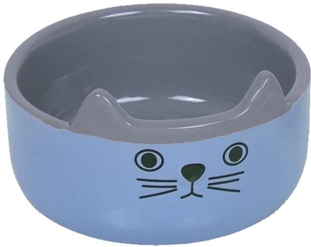 Nobby CAT FACE keramická miska pro kočky modro-šedá 13x4,5cm/0,16l