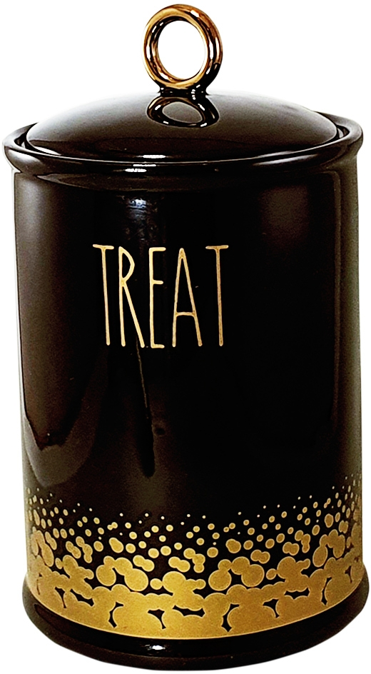 Nobby keramická dóza TREAT černá se zlatým dekorem 850ml