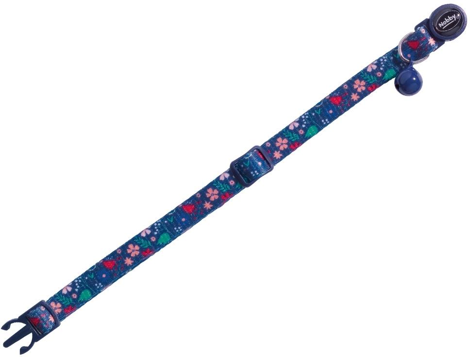Nobby Flower Dark Blue obojek s rolničkou pro kočky tmavě modrý 1ks