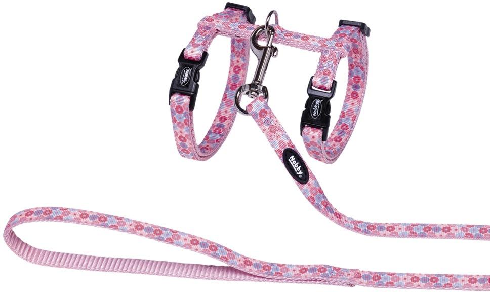 Nobby Flower Pink postroj s vodítkem pro kočky růžový