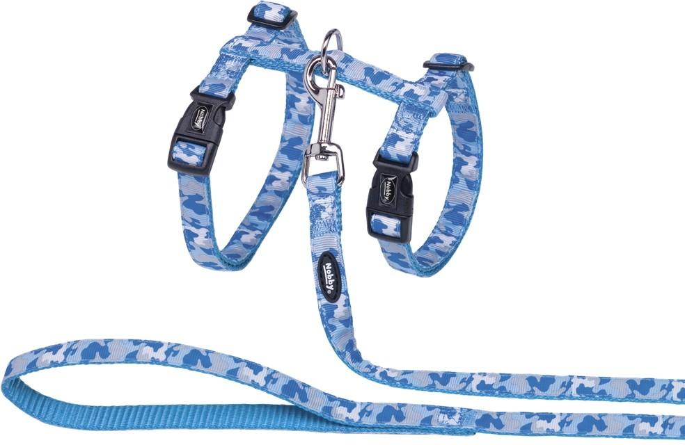 Nobby Camouflage postroj s vodítkem pro velké kočky světle modrý XL