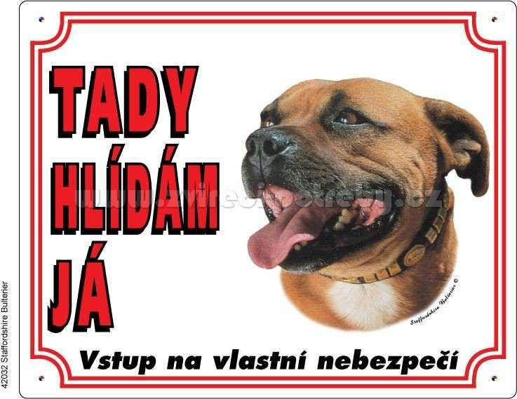 Výstražná plastová tabulka Staffordshire Bull Terrier