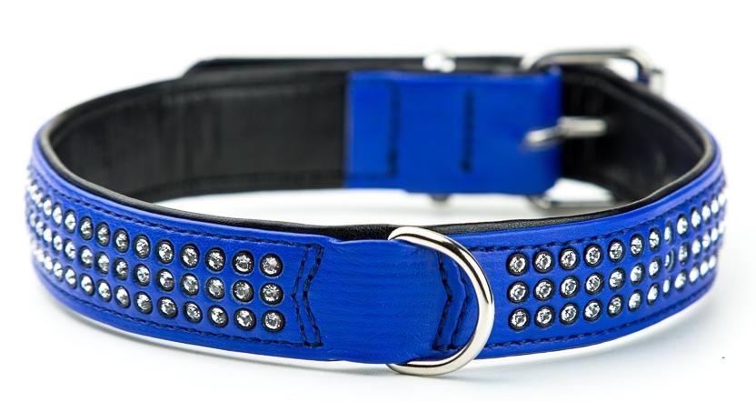 Nobby Crystal obojek se Swarovski krystaly M-L 47cm tmavě modrá