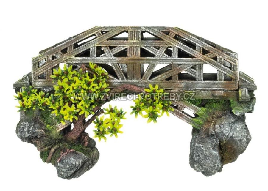 Nobby akvarijní dekorace most s rostlinou 33,5 x 12 x 20,5 cm