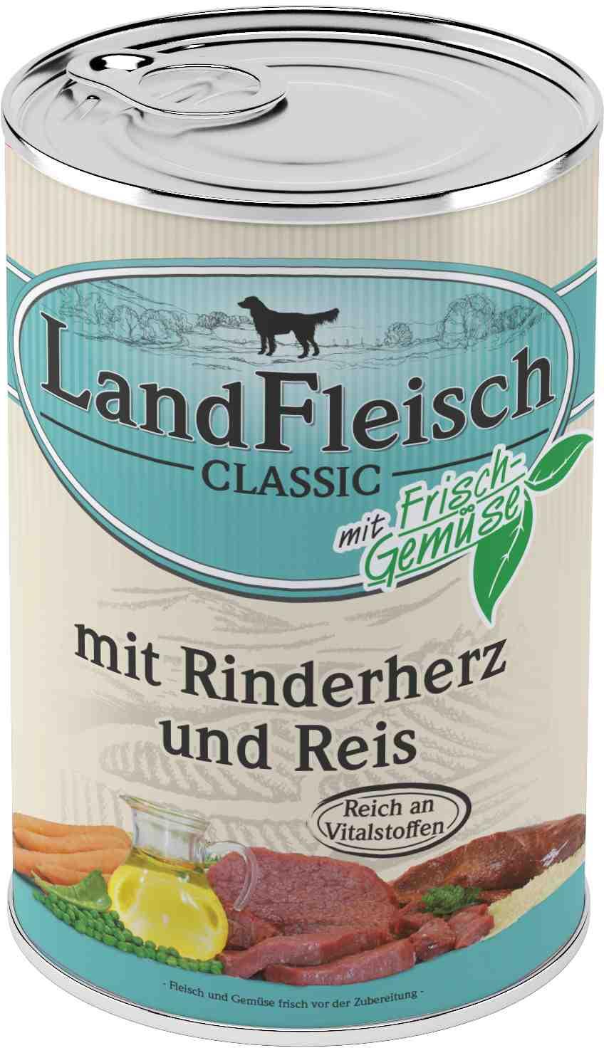 Landfleisch Dog Classic Rinderherz, Reis 400g