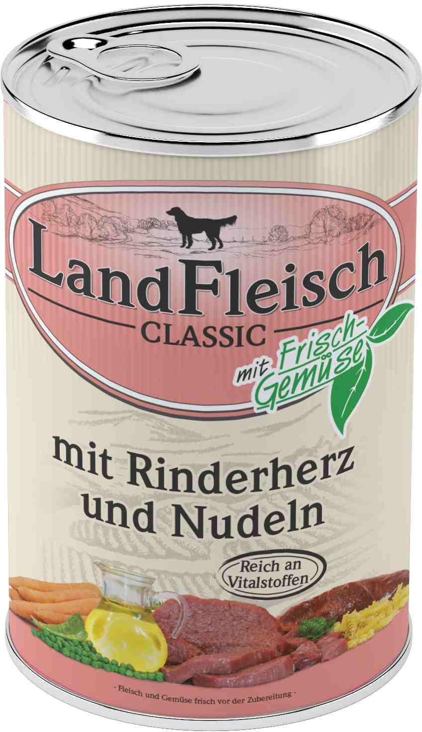 Landfleisch Dog Classic Rinderherz, Nudeln 400g