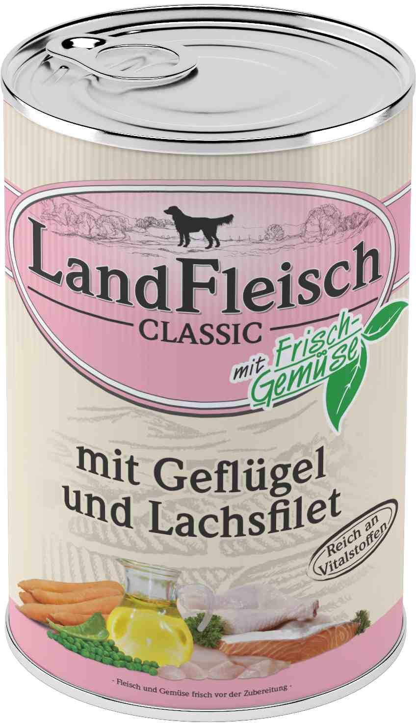 Landfleisch Dog Classic Geflügel, Lachsfilet 400g
