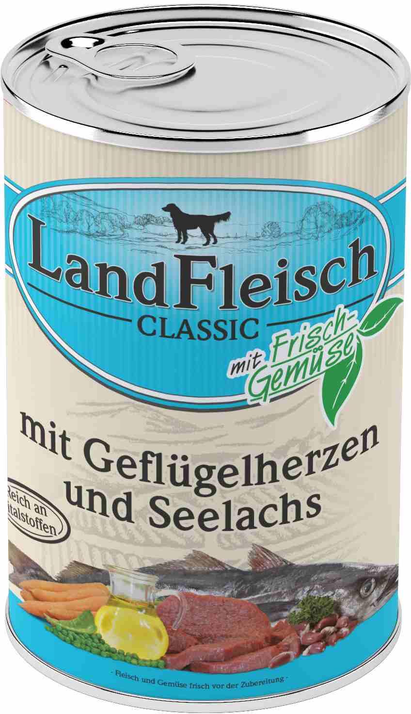 Landfleisch Dog Classic Geflügelherz, Seelachs 400g