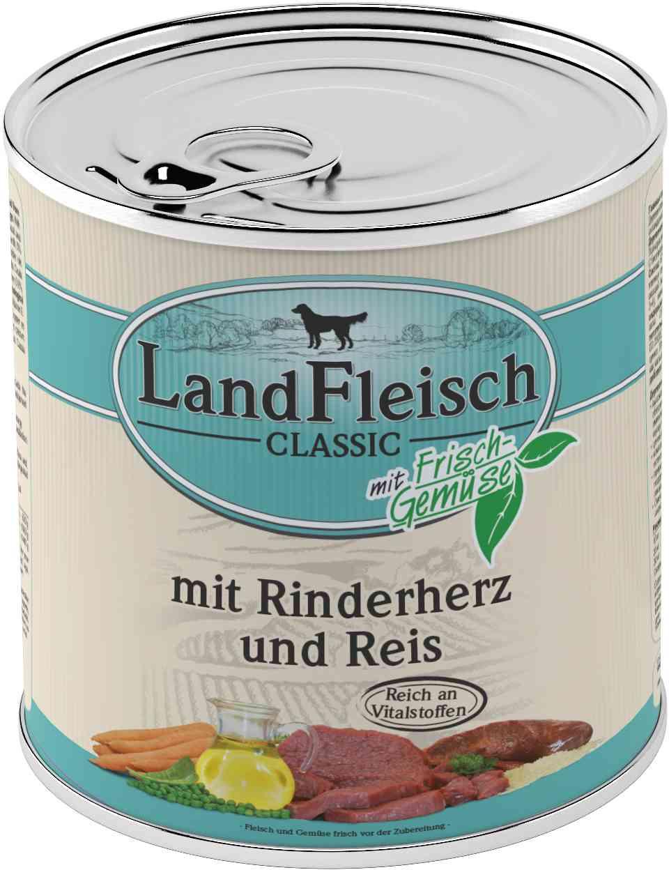 Landfleisch Dog Classic Rinderherz, Reis 800g
