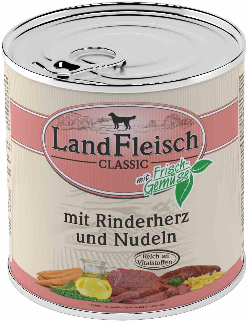 Landfleisch Dog Classic Rinderherz, Nudeln 800g