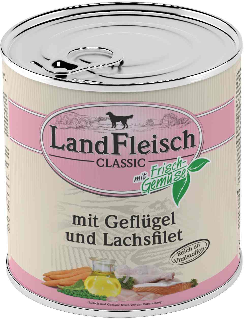 Landfleisch Dog Classic Geflügel, Lachsfilet 800g