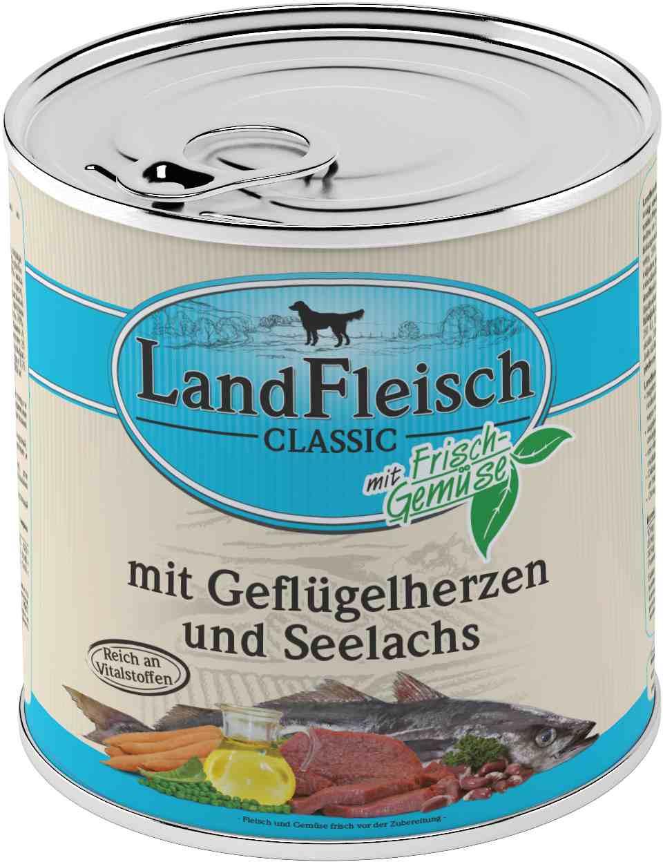 Landfleisch Dog Classic Geflügelherz, Seelachs 800g