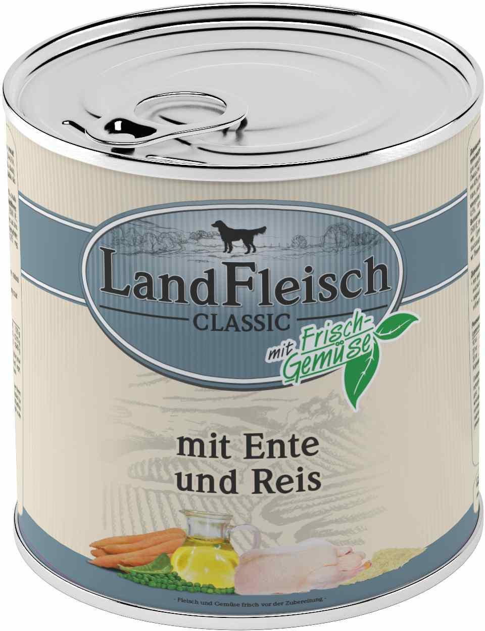 Landfleisch Dog Classic Ente, Reis 800g