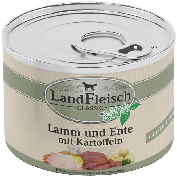 Landfleisch Dog Classic Lamm, Ente, Kart. 195g