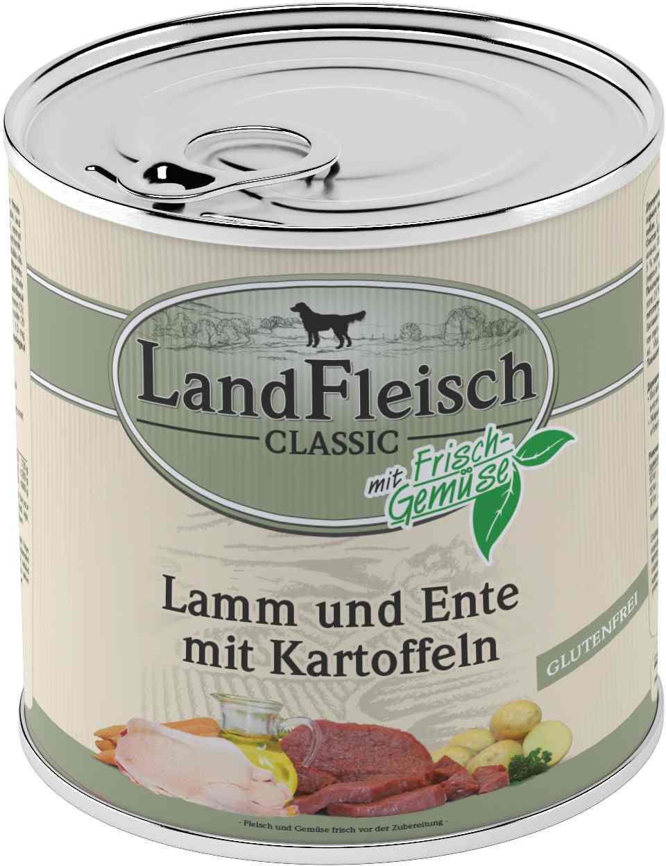 Landfleisch Dog Classic Lamm, Ente, Kart. 800g