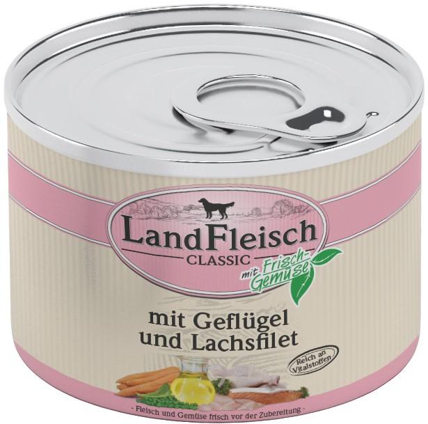 Landfleisch Dog Classic Geflügel, Lachsfilet 195g