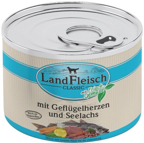 Landfleisch Dog Classic Geflügelherz, Seelachs 195g