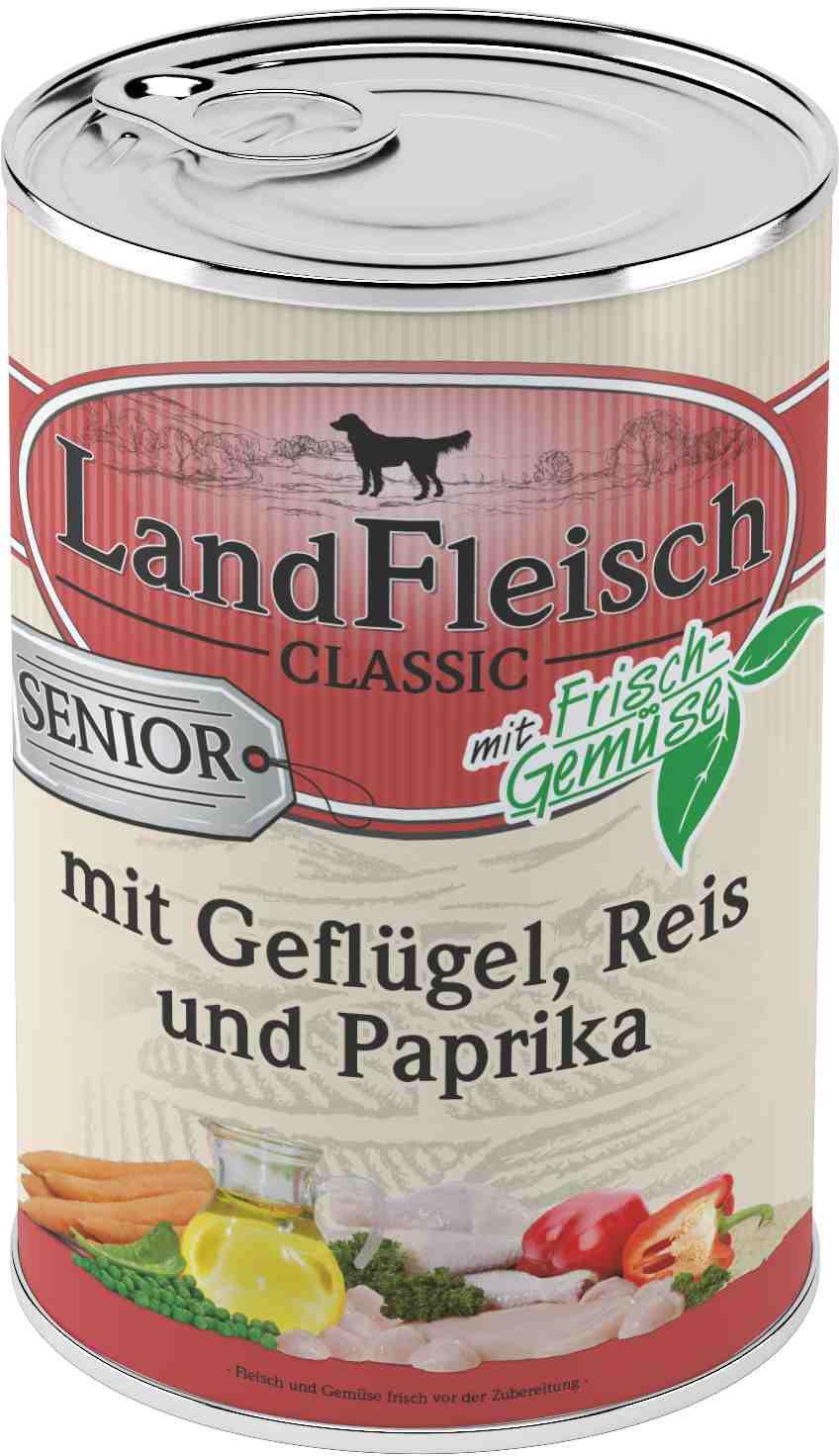 Landfleisch Dog Classic Senior Gefl. Reis, Paprika 400g