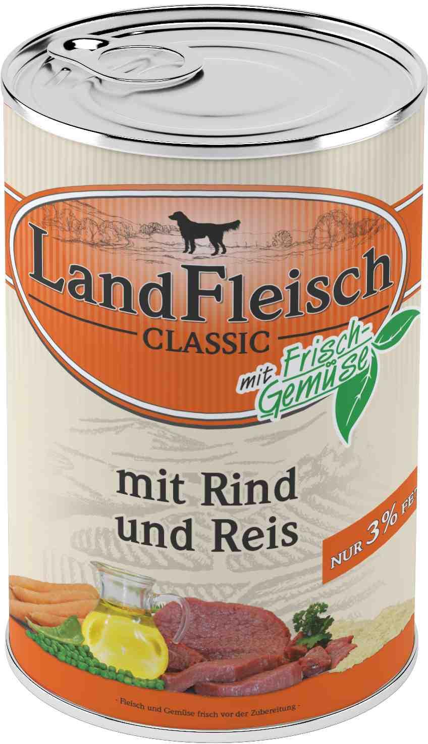 Landfleisch Dog Classic Rind, Reis extra mager 400g