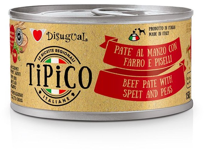 Disugual Tipico Dog Beef, Spelt and Peas konzerva 150g